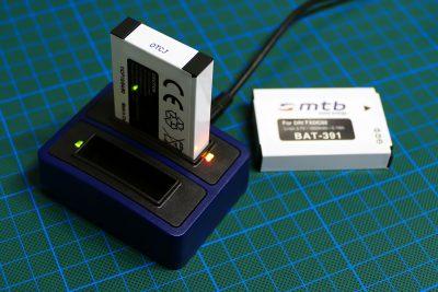 Tischladegerät mit USB-Anschluss und Zusatzakkus für Drift Ghost-S Actioncam.